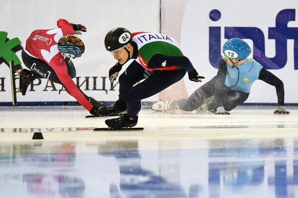 Слева направо: Франсуа Амлен (Канада), Андреа Кассинелли (Италия) и Денис Никиша (Казахстан)