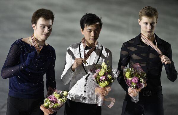 Россиянин Дмитрий Алиев, американец Винсент Чжоу и россиянин Александр Самарин (слева направо)