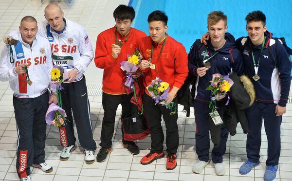 Евгений Кузнецов и Илья Захаров (Россия), Цао Юань и Се Сыи (Китай), Джек Ло и Крис Мирс (Великобритания) (слева направо)