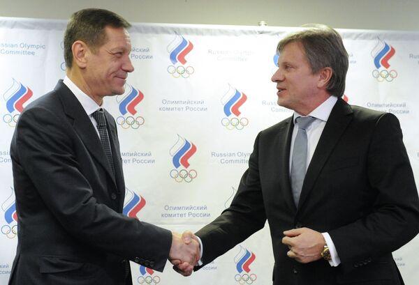 Президент Олимпийского комитета России Александр Жуков и генеральный директор ОАО Аэрофлот Виталий Савельев (слева направо)