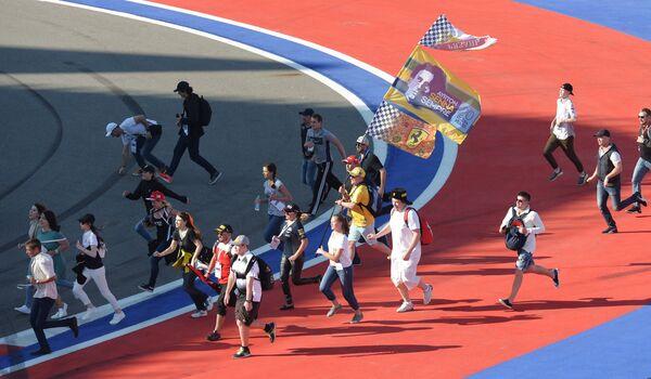 Болельщики после окончания гонки Гран-при России