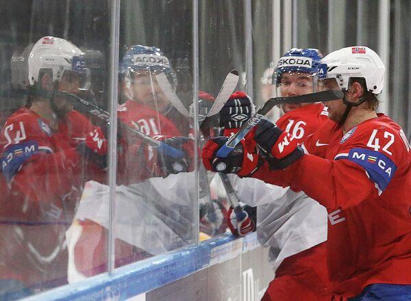 Игровой момент матча группового этапа чемпионата мира по хоккею-2017 между сборными Норвегии и Чехии