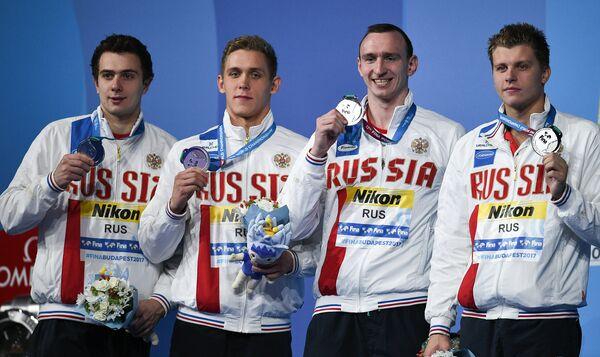 Михаил Довгалюк, Михаил Вековищев, Данила Изотов и Александр Красных (слева направо)