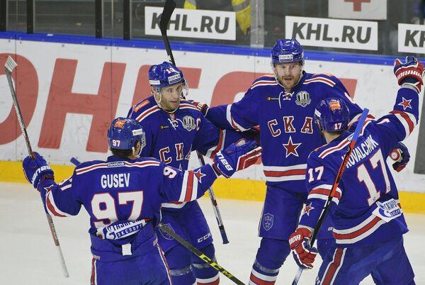 Игроки СКА Никита Гусев, Павел Дацюк, Патрик Херсли и Илья Ковальчук (слева направо)