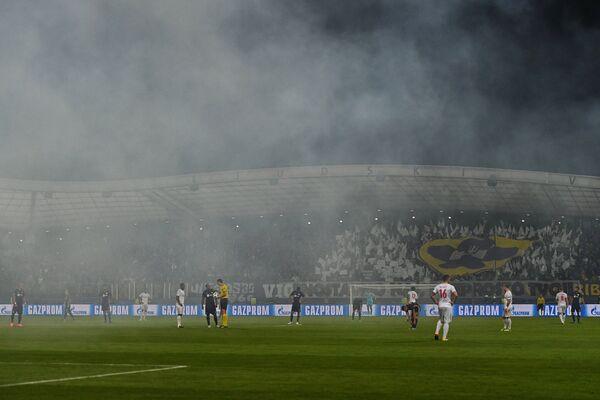 Игровой момент матча группового этапа Лиги чемпионов между ФК Марибор и ФК Спартак