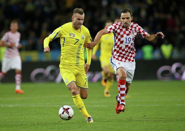 Игровой момент матча Украина - Хорватия