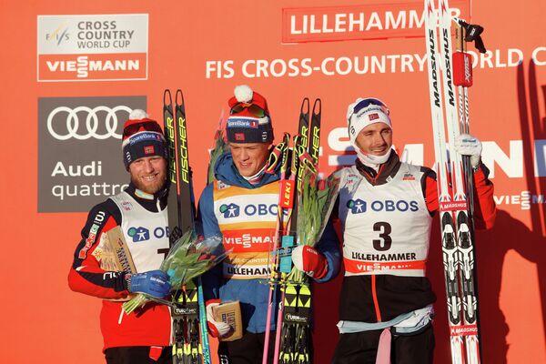 Мартин Йонсруд Сундбю, Йоханнес Хёсфлот Клебо и Ханс Кристер Холунд (слева направо)