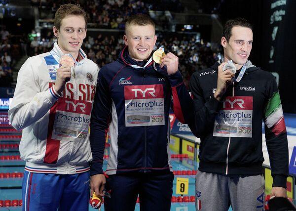 Россиянин Кирилл Пригода, британец Адам Пити и итальянец Фабио Скоццоли (слева направо)