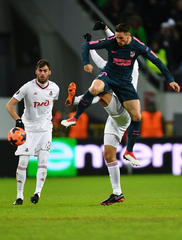 Игровой момент матча Локомотив - Атлетико