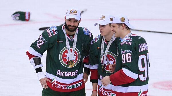 Игроки ХК Ак Барс Рафаэль Батыршин, Станислав Галиев и Никита Лямкин (слева направо)