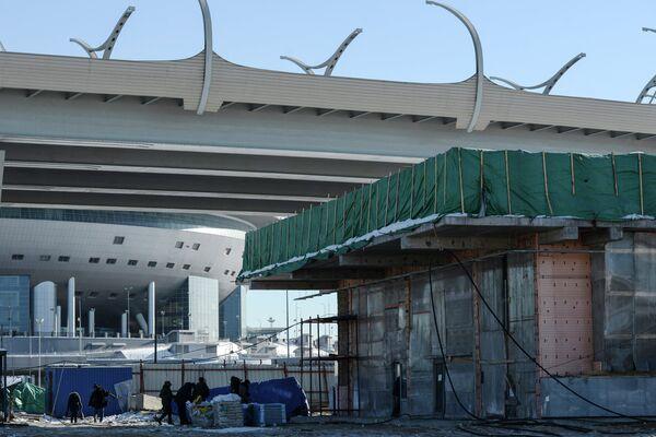 Строительство в Санкт-Петербурге павильона станции метро Новокрестовская