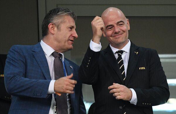 Президент футбольной федерации Хорватии Давор Шукер и президент ФИФА Джанни Инфантино