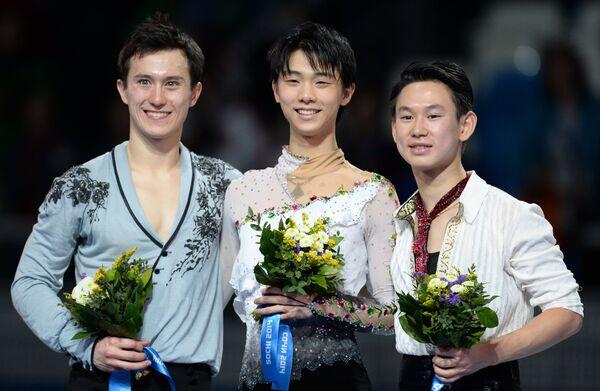 Патрик Чан, Юдзуру Ханю и Денис Тен (слева направо)