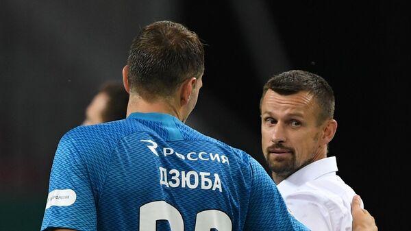 Артём Дзюба и Сергей Семак (справа)