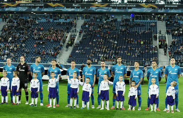 Футболисты Зенита перед матчем Лиги Европы против Славии