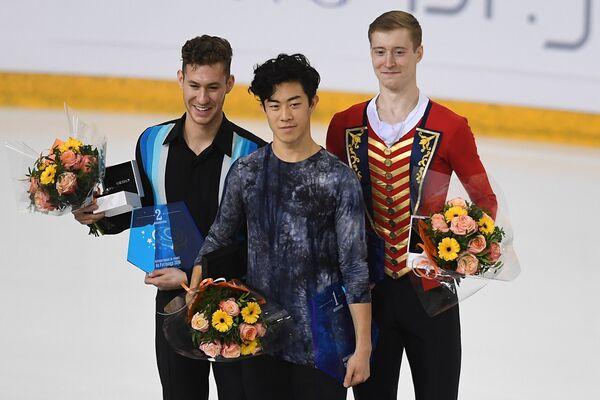 Джейсон Браун, Натан Чен и Александр Самарин (слева направо)