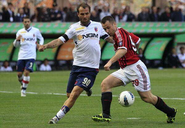 Игровой момент матча Милан - Болонья