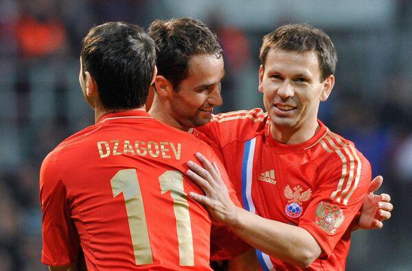Футбол. Товарищеский матч между сборными Дании и России