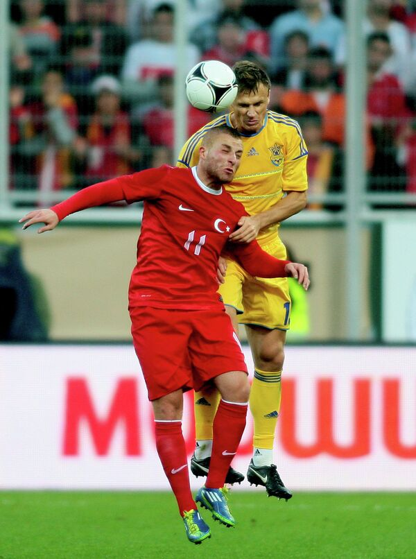 Игровой момент матча Украина и Турция