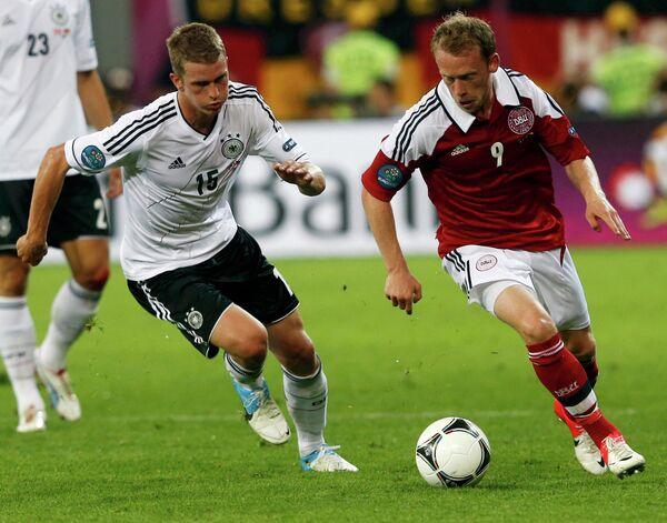 Игровой момент матча Дания - Германия