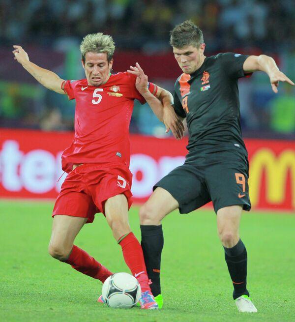 Игровой момент матча Португалии и Нидерландов