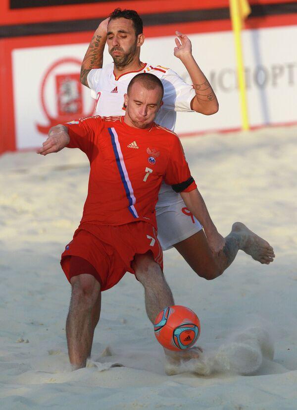Игровой момент матча между сборными России и Испании
