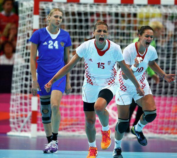 Игровой момент матча Россия - Хорватия
