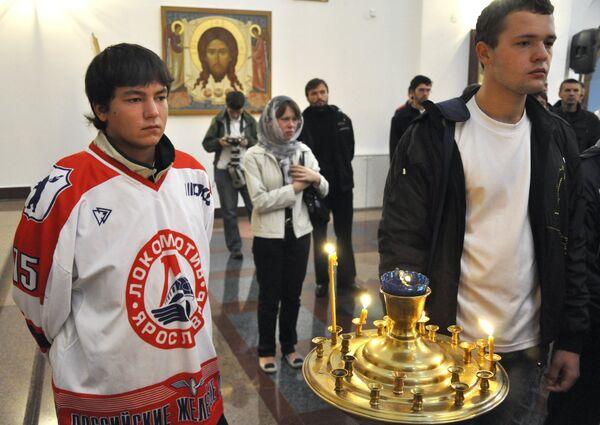Панихида в Ярославле по погибшим игрокам ХК Локомотив
