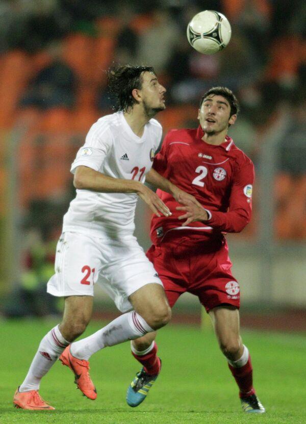 Игровой момент матча Белоруссия-Грузия