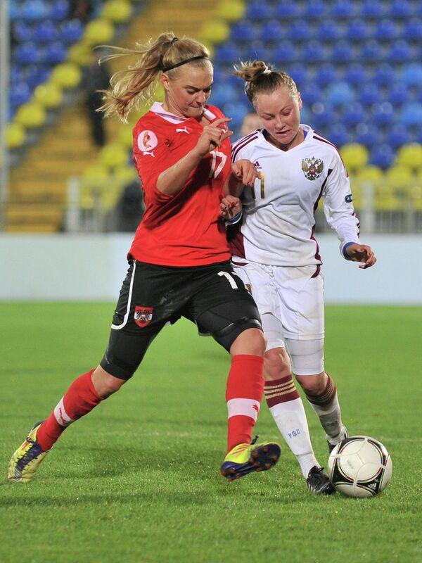 Игровой момент матча женских команд Россия- Австрия