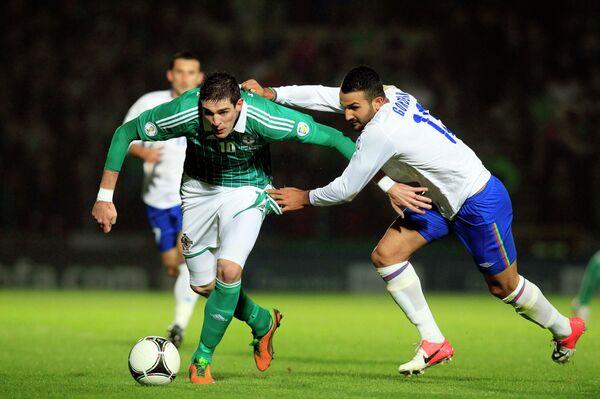 Игровой момент матча Северная Ирландия - Азербайджан
