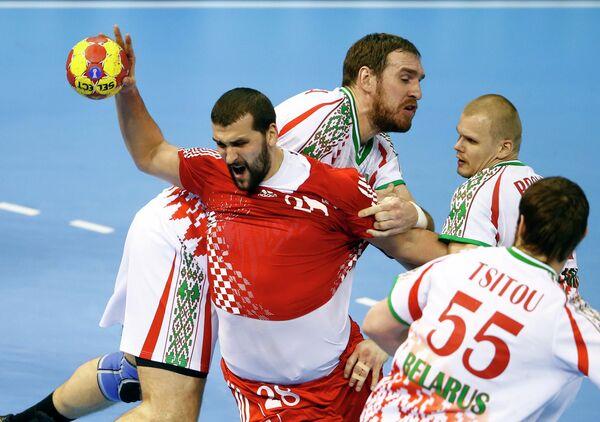 Игровой момент матча Хорватия-Белоруссия