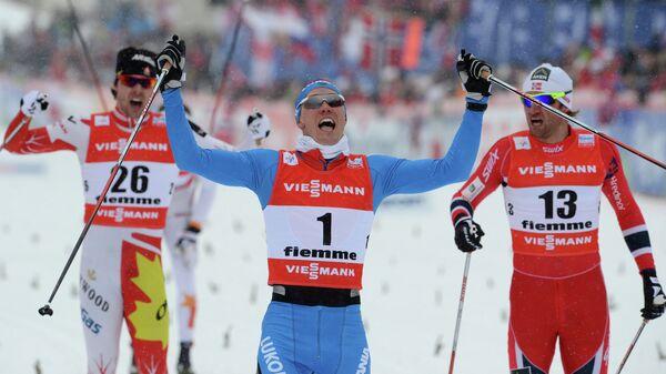 Канадец Алекс Харви, россиянин Никита Крюков и норвежец Петтер Нортуг (слева направо)