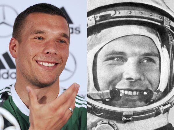 Лукас Подольски и Юрий Гагарин (слева направо)