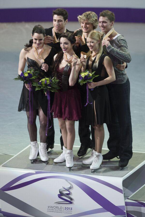 Тесса Вирту и Скотт Мойер, Мэрил Дэвис и Чарли Уайт, Екатерина Боброва и Дмитрий Соловьев (слева направо)