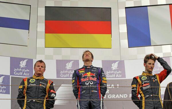 Подиум четвертого этапа Формулы-1 Гран-при Бахрейна