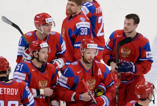 Хоккеисты сборной России после матча со сборной США