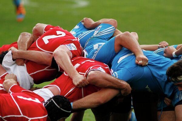 Игровой момент регбийного матча Россия-Италия