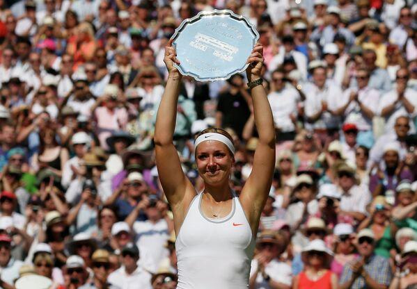 Сабина Лисицки на церемонии награждения Уимблдонского теннисного турнира