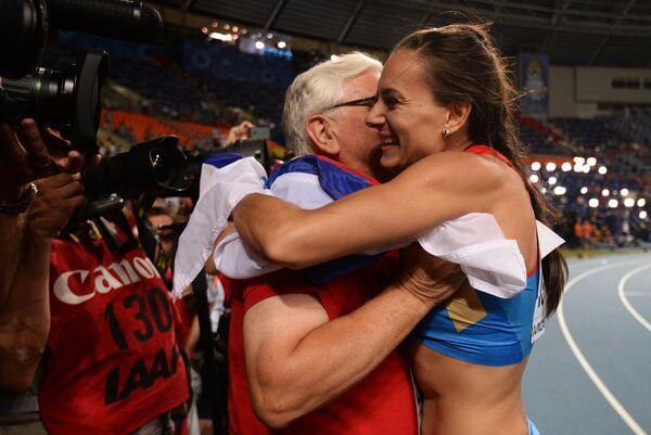 Елена Исинбаева с тренером Евгением Трофимовым