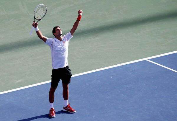 Новак Джокович после победы над Станисласом Вавринкой в полуфинале US Open