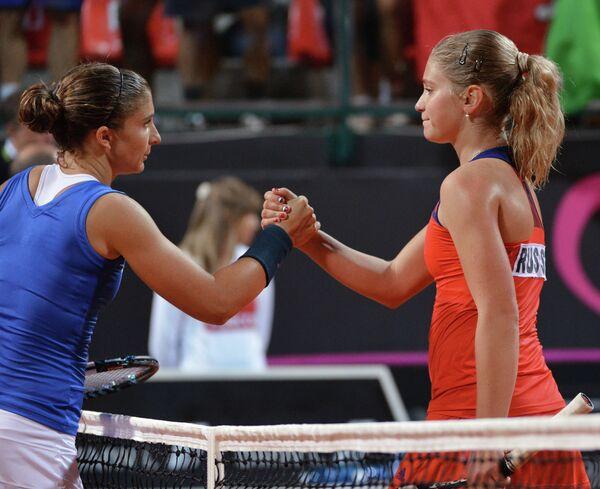 Россиянка Ирина Хромачева (справа) и итальянская теннисистка Сара Эррани