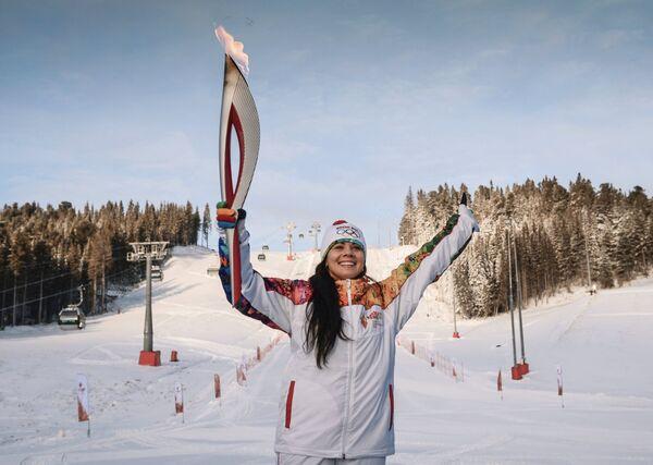 Екатерина Илюхина во время эстафеты