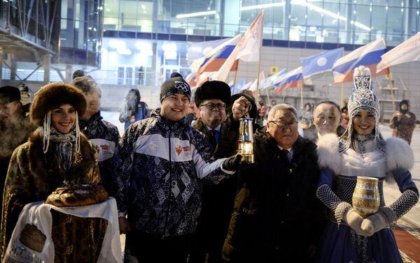Олимпийский огонь прибыл в Якутск. Егор Борисов.
