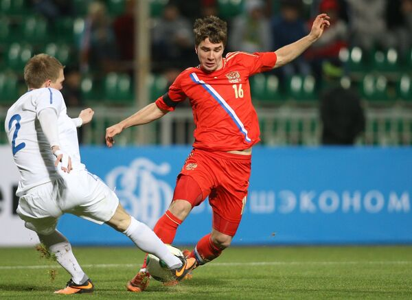 Игровой момент матча среди молодежных сборных России и Эстонии