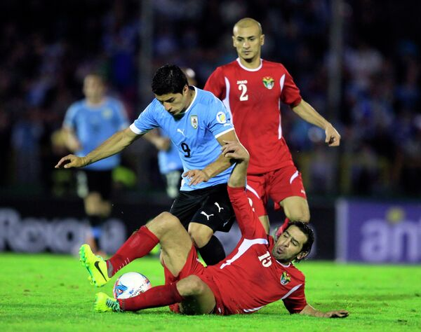 Игровой момент матча Уругвай - Иордания