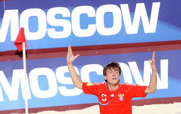 Игрок сборной России по пляжному футболу Юрий Крашенинников