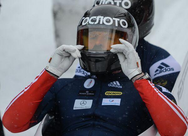 Александр Зубков по окончании заезда двоек