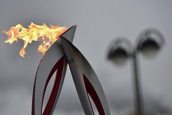 Факел во время эстафеты олимпийского огня