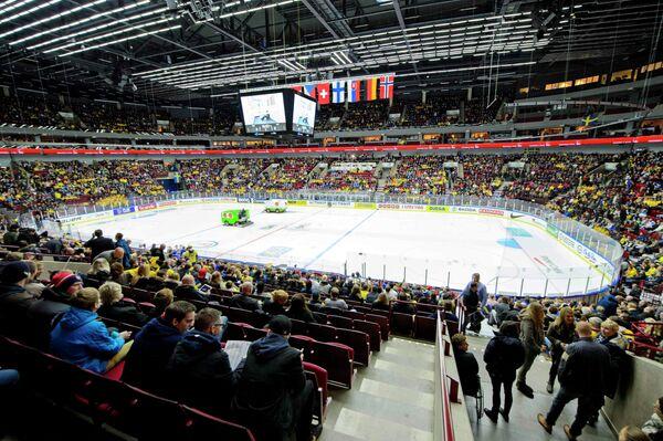 Арена, на которой проходят матчи молодежного чемпионата мира по хоккею в Мальме